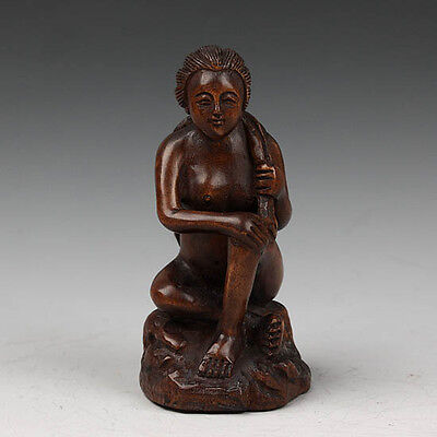 Hand Carved Boxwood Wood Japanese Netsuke Carving Sculpture Sign Nude Lady Bath