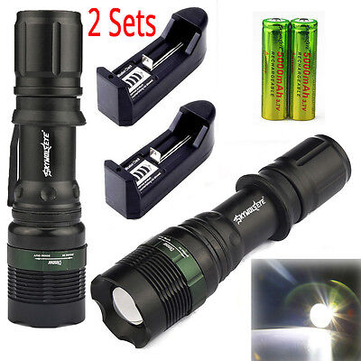 2 Sets 6000Lm T6 LED Flashlight Zoom Torch Lamp Light 18650 Battery + Charger UK