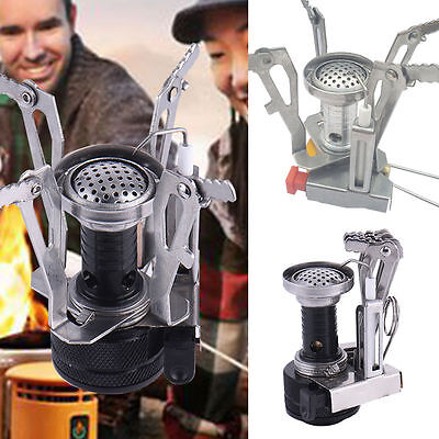 Portable Mini Steel Camping Stove Case Outdoor Picnic Foldable Gas Burner