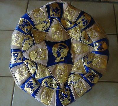 Egyptian-Leather Pouffe/Footstool -Blue/Beige Gold Embossed-Nefertiti-Pharaonic