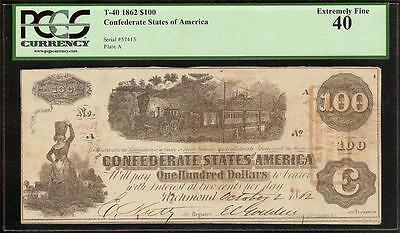 1862 $100 Bill Confederate States Note Civil War Currency Money T-40 Pcgs Ef 40