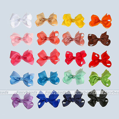 20pcs/set Chic Polyester Flower Barrette Pure Color Hair Bowknot Clips Jewelry