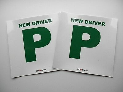 One Pair P Plates Professional Grade Laminated Self Adhesive Stickers Removeable