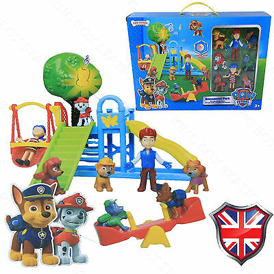 PAW PATROL Park Playground 8 PCS Chase Rubble Katie Ryder Figures Kids Toys Gift