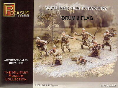 Pegasus 7306. French Infantry Ww2. 40 Plastic 1/72 Scale Figures. Wwii.