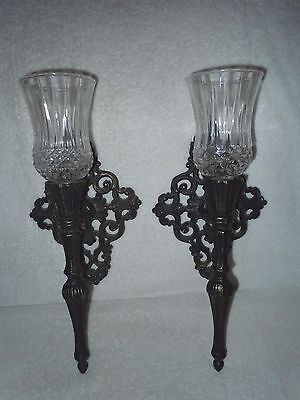 Vintage Ornate Pair Black Metal Antique Finish Wall Sconces, Cut Glass Votives