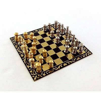 Dolls House 1/12 Scale Chess Set With Metal Board And Pieces