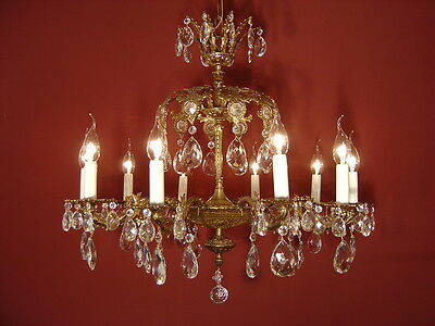 Solid 2 Crown 10 Light Brass French Crystal Chandelier Lamp Old Antique Ancient