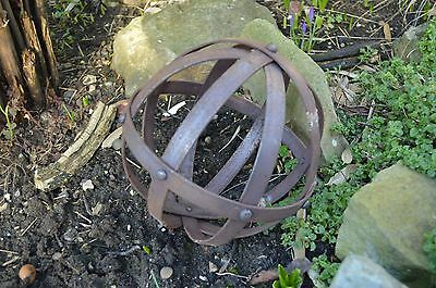 Unusual Small Decorative Wrought Iron Sphere Riveted Iron Ball Rusty Sculpture