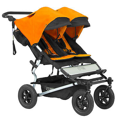 Mountain Buggy 2016 Evolution Duet Double Stroller w/ Carrycot Orange Free Ship!