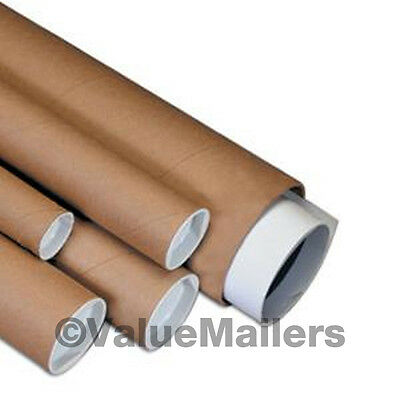 50 - 3 x 6 Kraft Mailing Shipping Packing Tubes Cap
