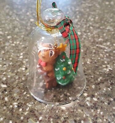 Avon Gift Collection Christmas Charm Glass Bell Ornament Chipmunk NIB