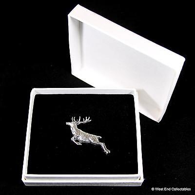 Leaping Red Deer Stag Pewter Pin Brooch in Gift Box -Handcrafted Present Badge