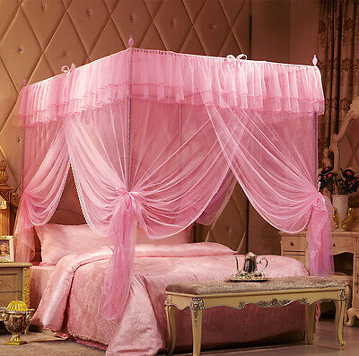 Pink Princess 4 Corner Post Bedding Canopy Mosquito Netting Single Double King