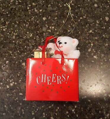 Avon Gift Collection Holiday Friend Christmas Ornament Teddy In Bag Cheers NIB