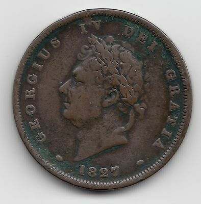 Rare Great Britain George IV 1827 Penny 1d