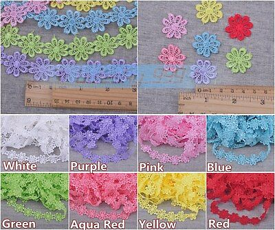 Hot 1~10Yards 1'' Width Trim Petal Lace Embroidered Applique Sewing Fabric Bulk