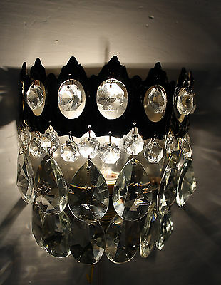 Antique Brass & Crystals Chandelier Wall Sconce from 1950's • CAD $96.58