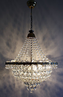 Vintage // Antique Empire Style Brass &  Crystals  Chandelier Ceiling Lamp • CAD $472.50