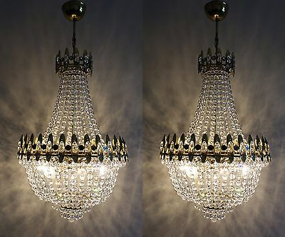Pair of Vintage / Antique French Basket Style Brass &  Crystals Chandelier Lamp