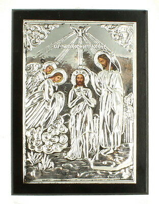 Vintage Religious Greek Orthodox Icon Sterling Silver  Wall Plaque Wood Angels