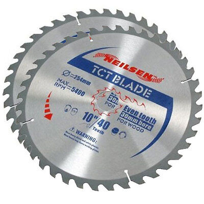Brand New Pack of 2 10 Inch TCT Circular Saw Blades 40 / 60 Teeth - 254mm