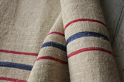 Vintage GRAIN SACK fabric material linen red blue  2.75 YDS old upholstery
