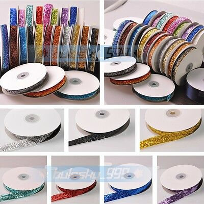 New 10~100Yards 5/8'' Width Trim Sparkle Glitter Velvet Ribbons Sewing Fabric