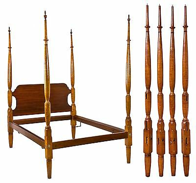 SWC-Tiger Maple Tall Post Bed, probably Pennsylvania, Early 19th century