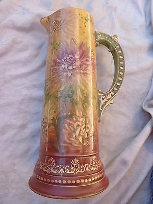 Antique Victorain French Hand Painted Floral Mum Berries Porcelain Tankard