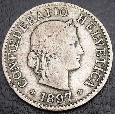 SWITZERLAND: 1897 B 5 Rappen Coin,  KM# 26 **VERY SCARCE**◢ FREE COMBINED S/H ◣