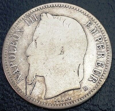 FRANCE: 1870 BB 1 Franc .835 Silver Coin, KM# 806, Gad# 463◢ FREE COMBINED S/H ◣