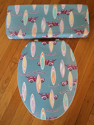 Surf Board Woody Beach House Surfer Bathroom Toilet Seat & Tank Lid Cover Set