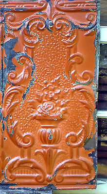 SALE! Antique Victorian Ceiling Tin Tile Flowers Torch Chic Cottage Cabinet Door