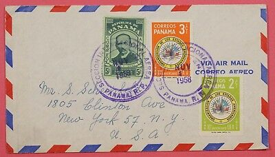 1958 Panama Multi Franked Air Mail Cover To Usa