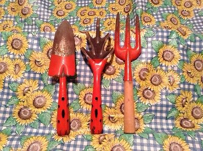 3pc Vintage Japan Orange Metal Claw Trowel & Hand Tool & Fork? Garden Tools
