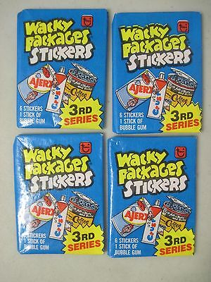 Lot Of 4 Sealed 1980 Topps Wacky Packages Stickers 3Rd Series Unopened Wax Packs