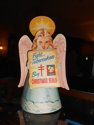 Vtg 1943 Buy CHRISTMAS SEALS ANGEL Fight Tuberculosis Store Counter DISPLAY
