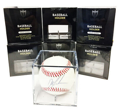 6 Max Pro Baseball Display Case Cubes 98% Archival UV Protection and Cradle