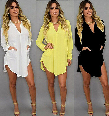 Women Lady Girls Hot Casual Long Sleeve Office Chiffon Shirt Blouse Tops Cothes