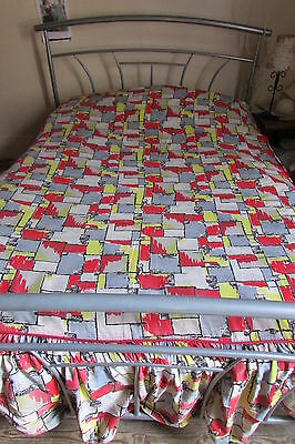 ORIGINAL VINTAGE FRENCH RETRO 1950's VIBRANT CHECKED COTTON DBL BED COVER THROW