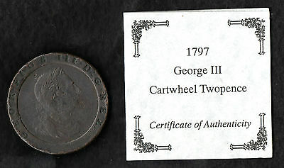 1797 George III Cartwheel Twopence With Certificate Of Authenticity