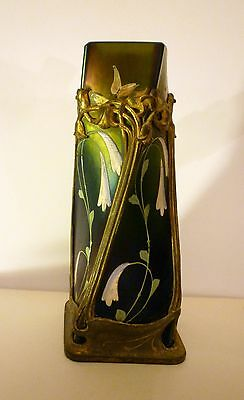 Antique art nouveau vase, Bohemian. Metal/bronze surround, Tiffany style glass