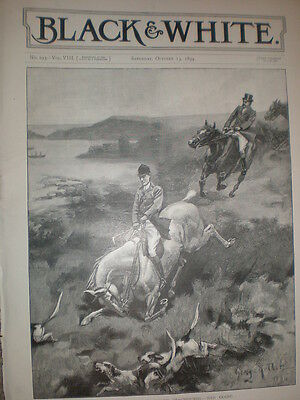 The Devon and Somerset Staghounds Bad Going 1894 old hunting print