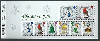 Great Britain 2016 Christmas Miniature Sheet With Barcode  Unmounted Mint, Mnh