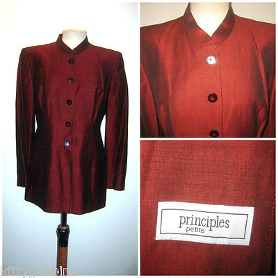 ~ LOVELY VINTAGE 1990s 90S PRINCIPLES TWO TONE RED BLAZER JACKET COAT UK 12 ~