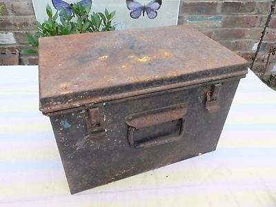 Retro Vintage Metal Very Shabby Old Deeds Box Chest