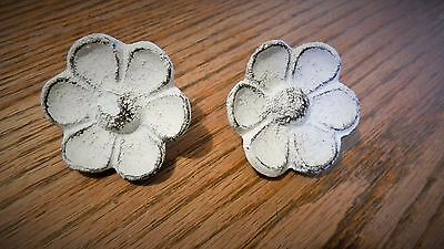 Antique Replica White Cupped Flower Drawer Pull Knob (BOX OF 4)  Cast Iron