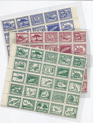 1944-1948 Chile Complete Sheet Lot of 3 254 255 C124 Flora & Fauna - MNH Scarce*