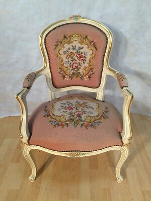 Stunning ANTIQUE FRENCH ARMCHAIR WHITE SHABBY CHIC TAPESTRY PNK UPHOLSTERY